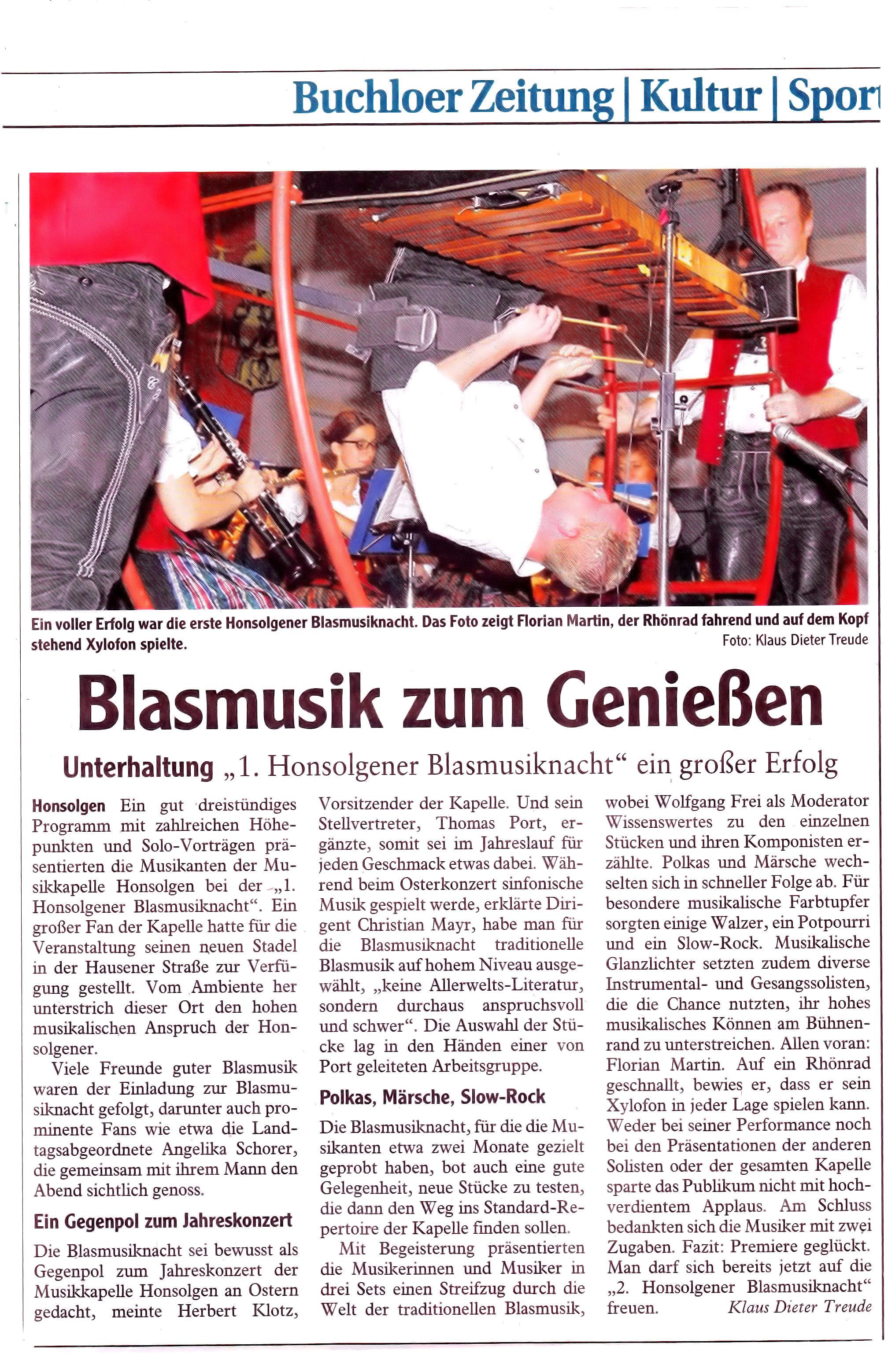 Honsolgener Blasmusiknacht 2013_Bericht aus Buchloer Zeitung