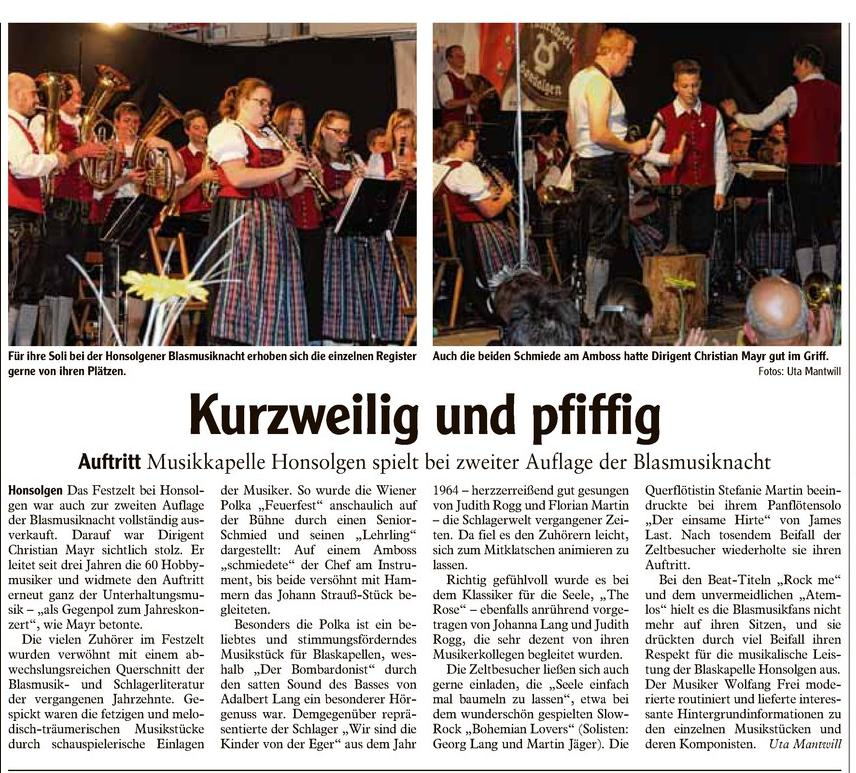 2. Honsolgener Blasmusiknacht 2014_Bericht aus Buchloer Zeitung