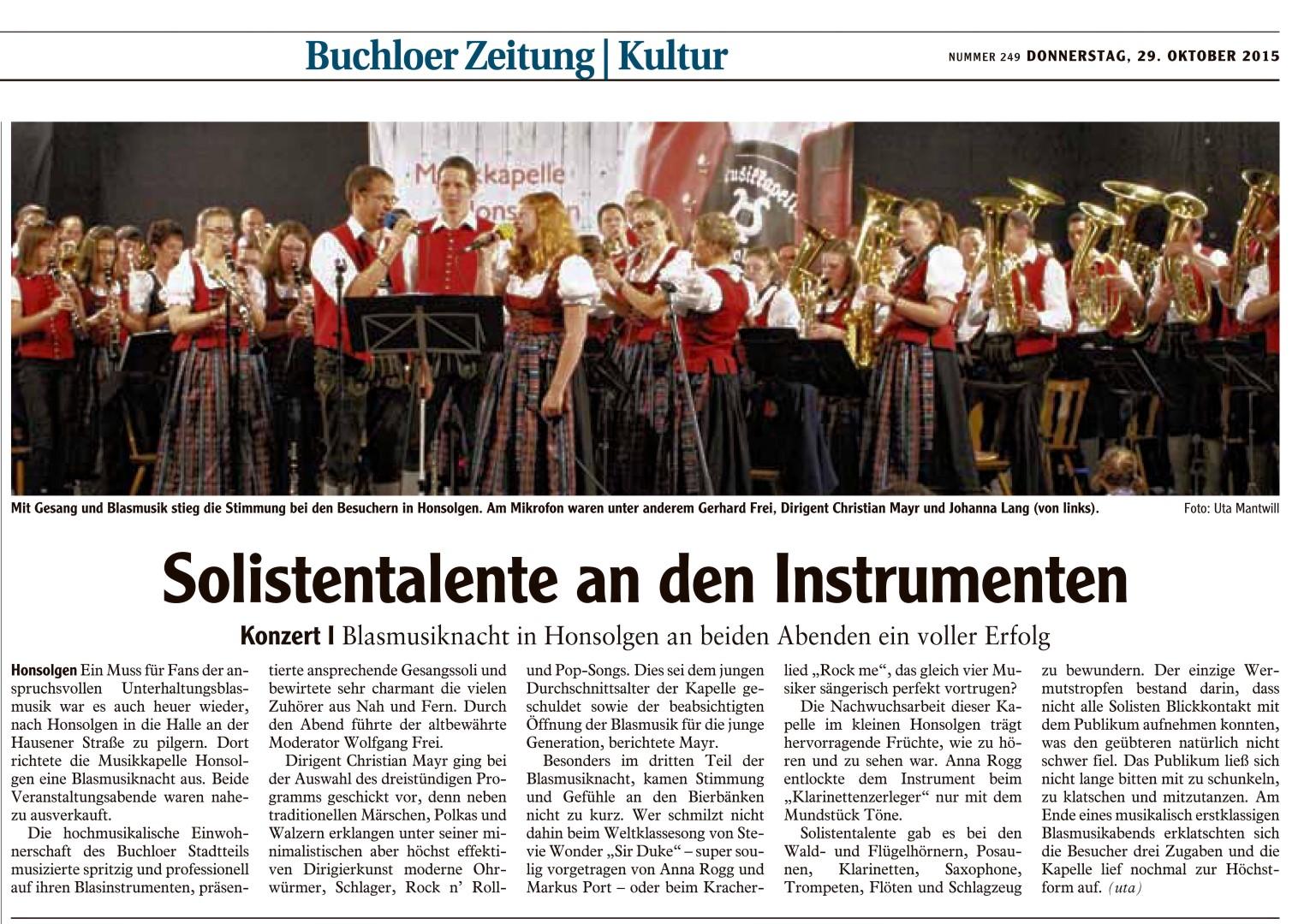 3. Honsolgener Blasmusiknacht 2015_Bericht aus Buchloer Zeitung