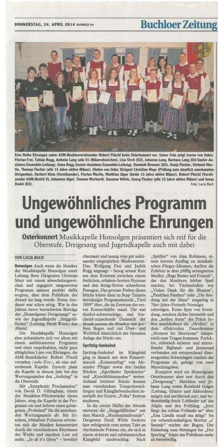 Osterkonzert 2014_Bericht aus Buchloer Zeitung