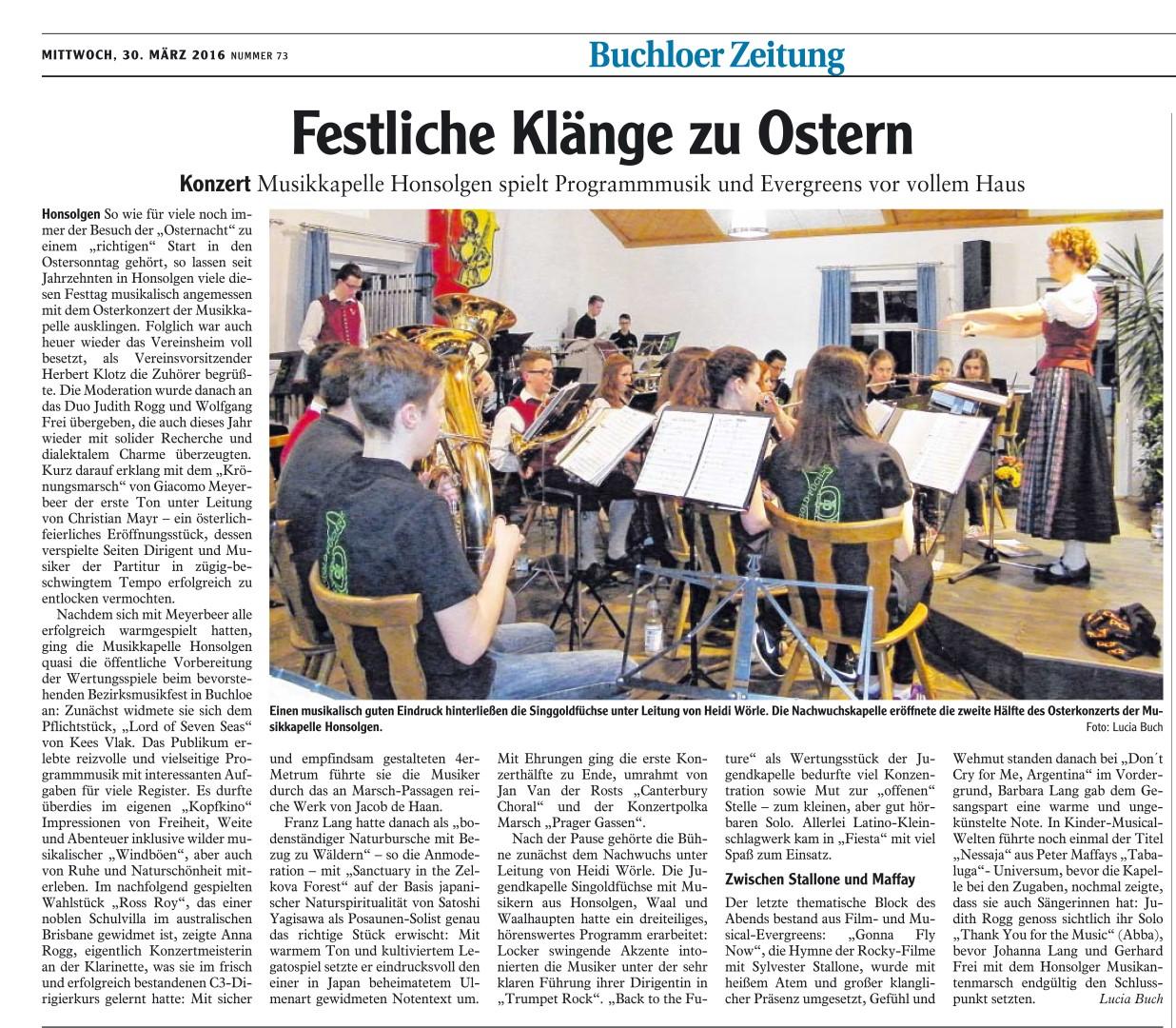 Osterkonzert MK Honsolgen 2016_Bericht aus Buchloer Zeitung