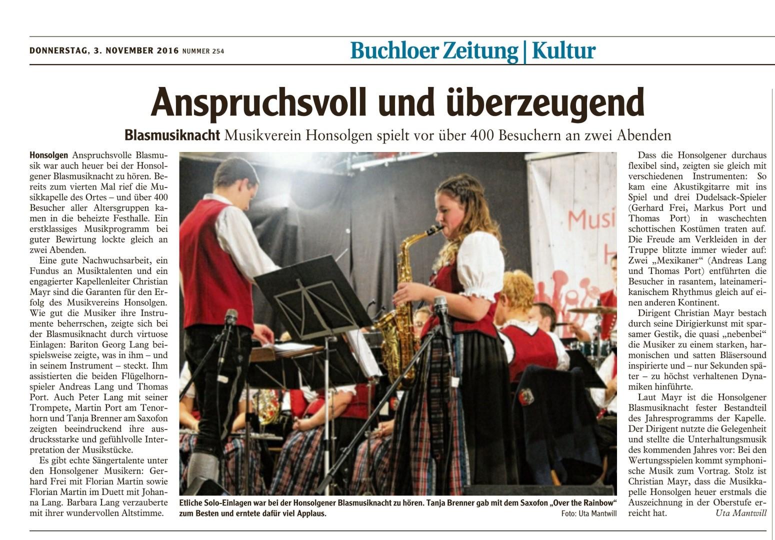 Honsolgener Blasmusiknacht 2016_Bericht aus Buchloer Zeitung